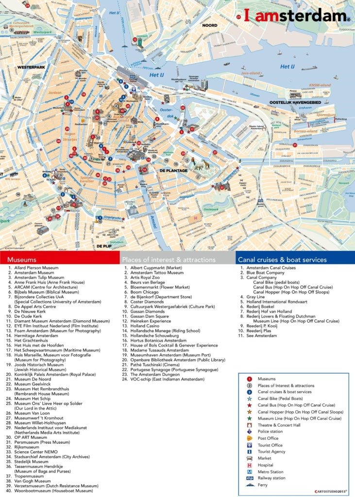 Carte touristique d'Amsterdam