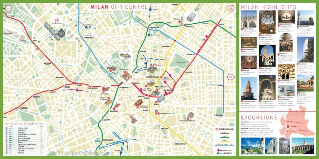 Carte touristique du centre-ville de Milan