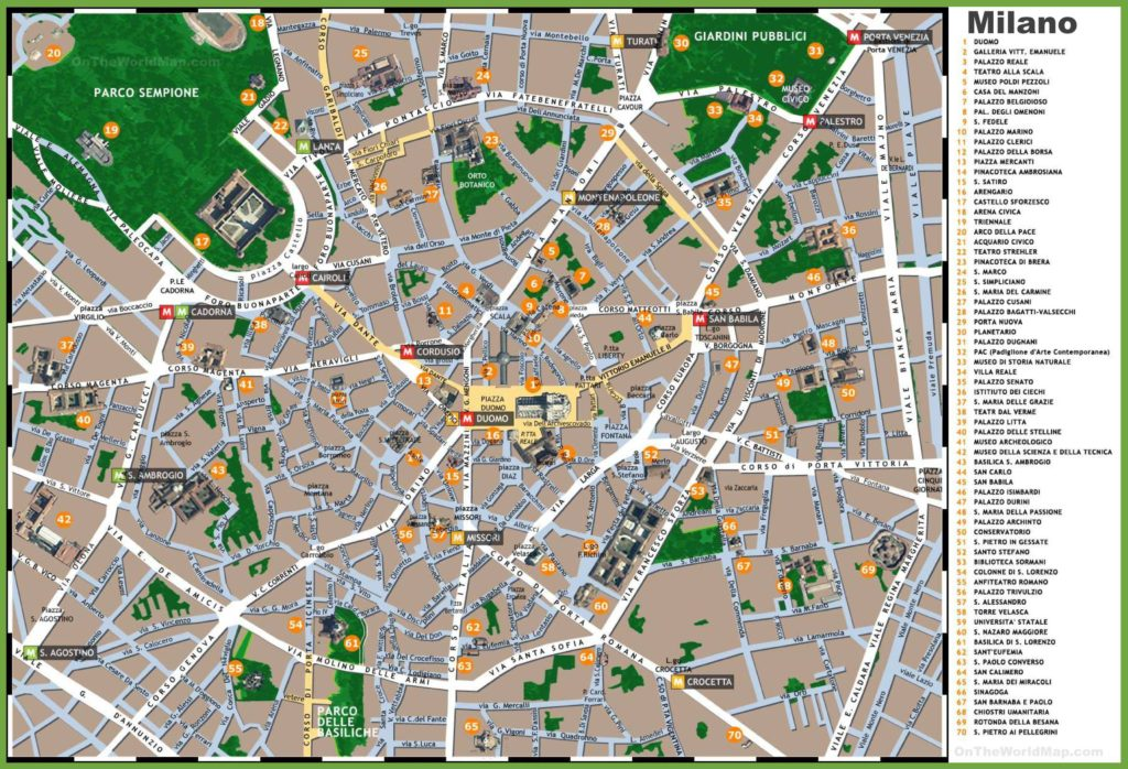 Carte touristique de Milan