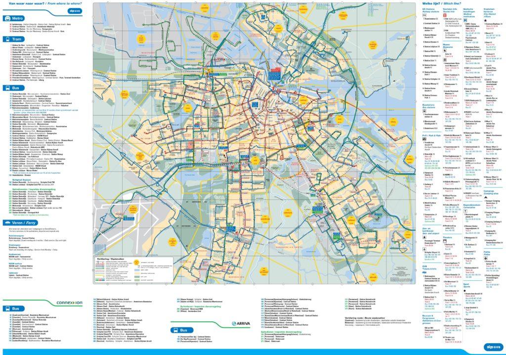 Carte du tram et bus d'Amsterdam