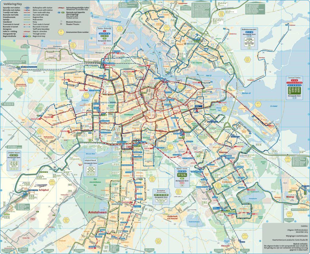 Carte des transports d'Amsterdam