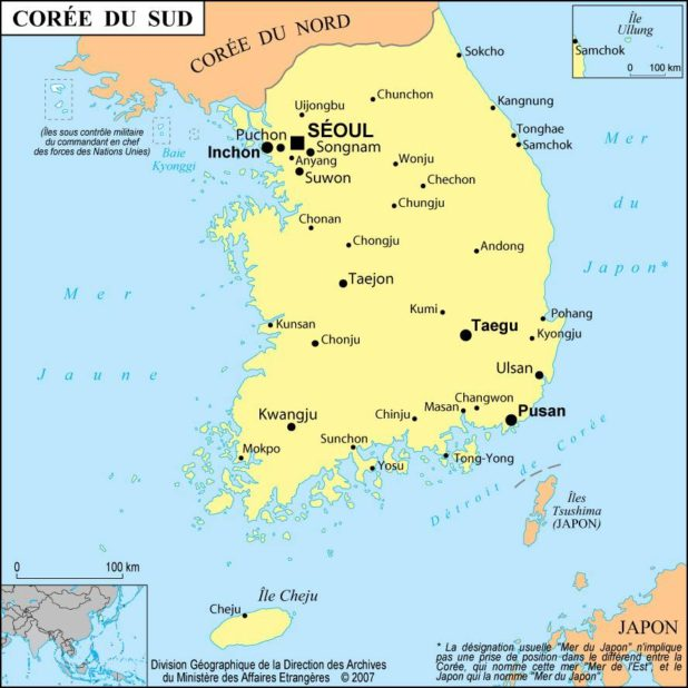 Corée du Sud carte