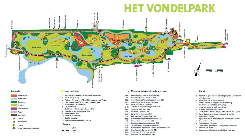 Carte Vondelpark à Amsterdam