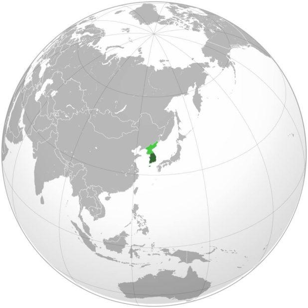 Corée du Sud sur une carte de l'Asie
