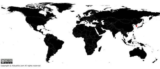 Corée du Sud sur une carte du monde