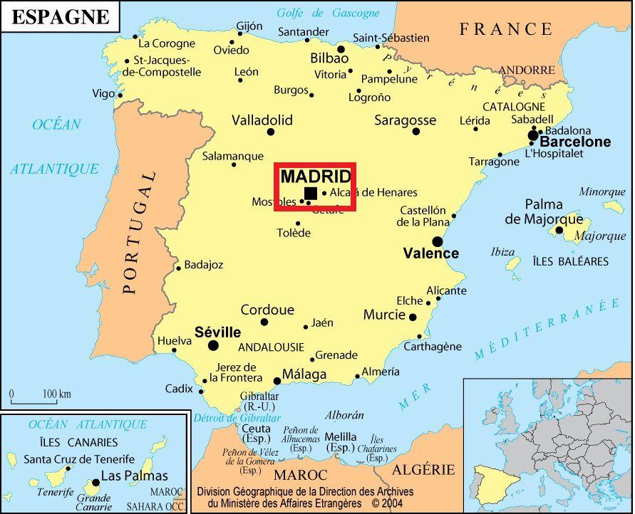 Madrid sur une carte d'Espagne
