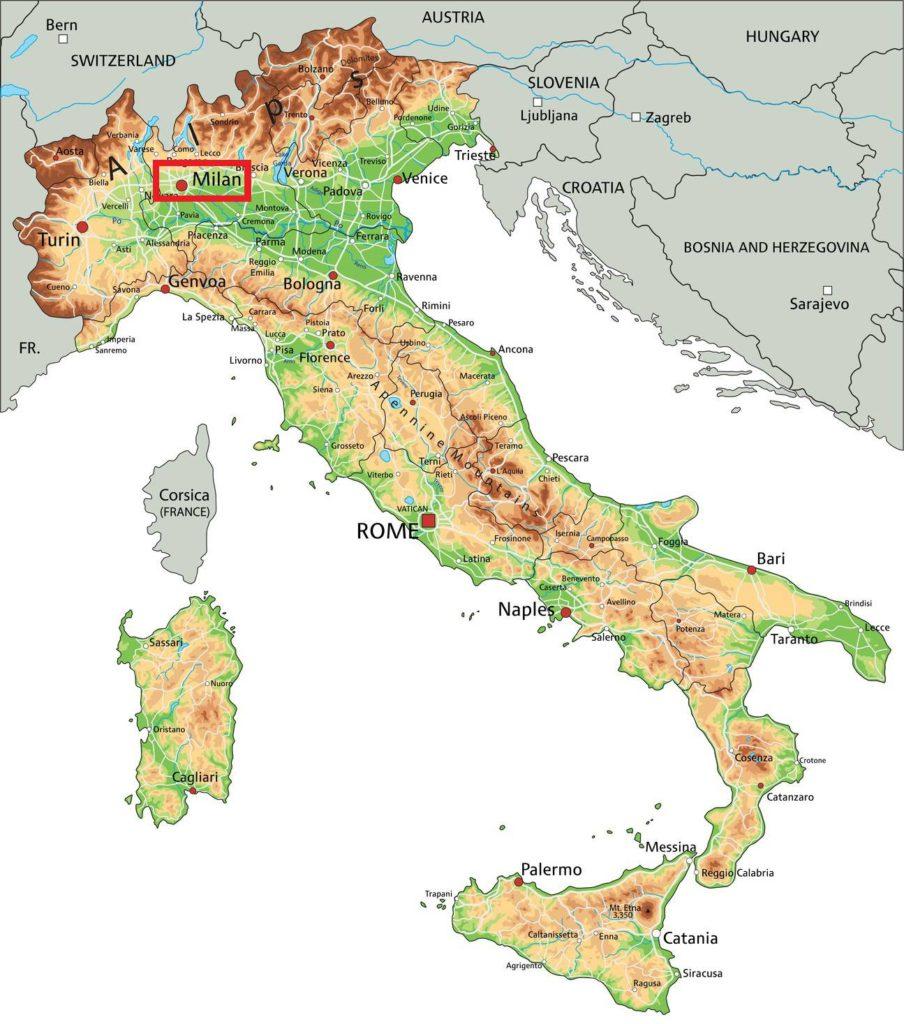 Milan sur une carte de l'Italie