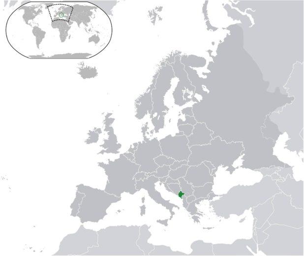 Monténégro sur une carte de l'Europe