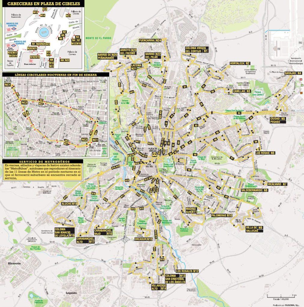 Plan du bus de nuit de Madrid