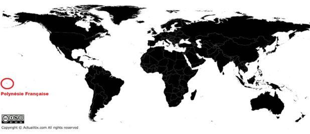 Polynésie française sur une carte du monde
