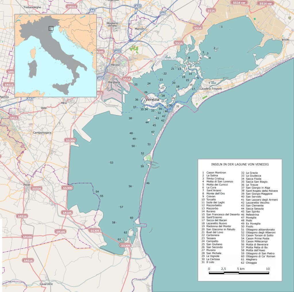 Venise sur une carte