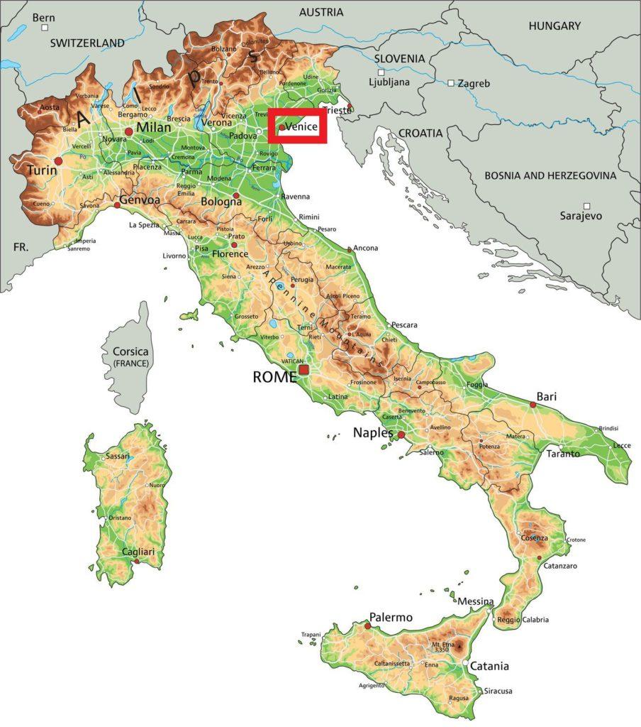 Venise carte de l'Italie