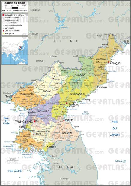 Carte administrative de la Corée du Nord