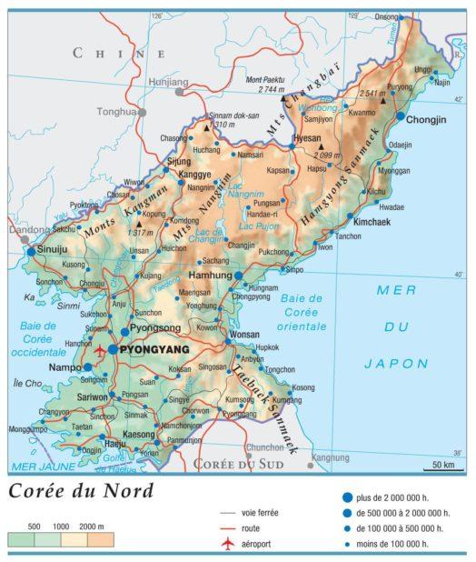 Carte géographique de la Corée du Nord