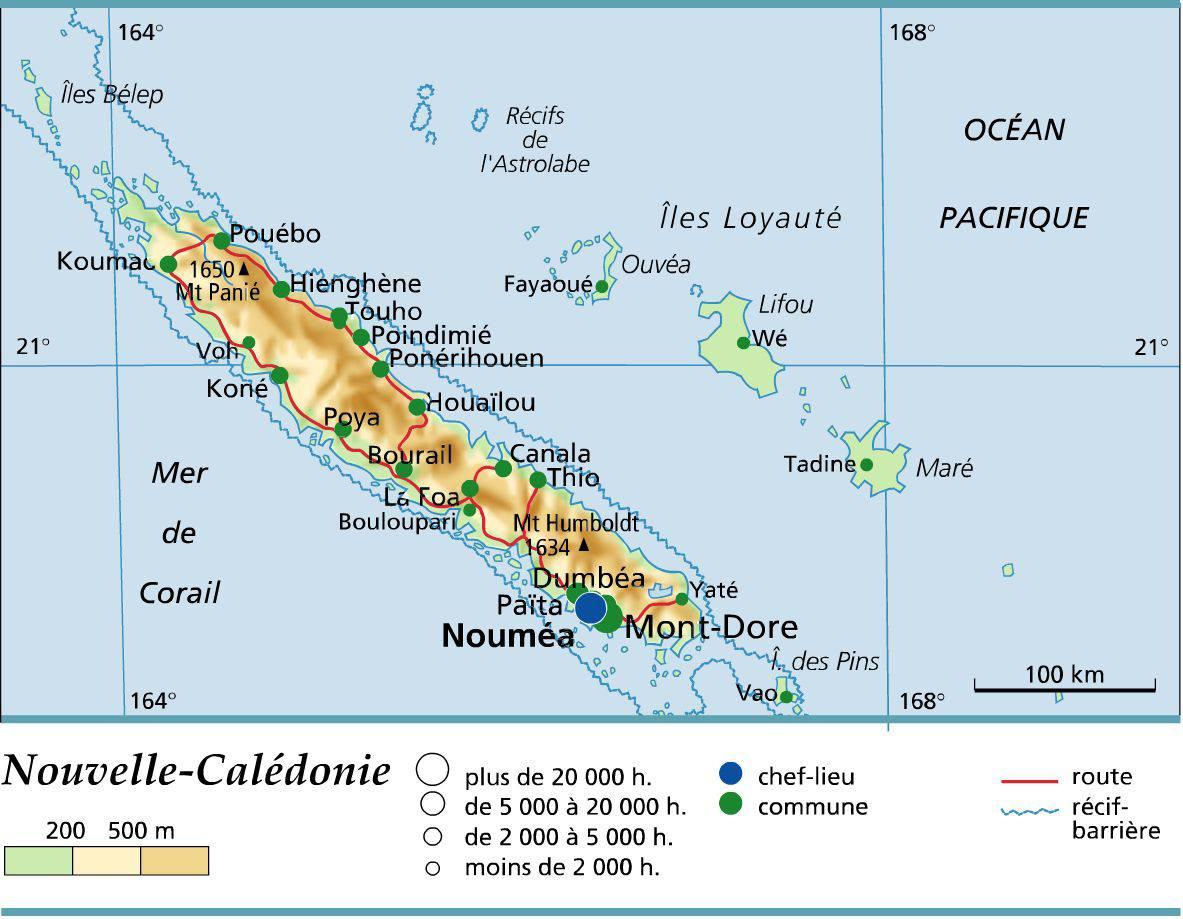 Carte de la Nouvelle-Calédonie