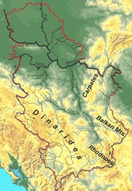 Carte géographique de la Serbie