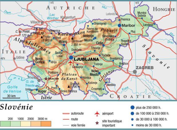 Carte géographique de la Slovénie