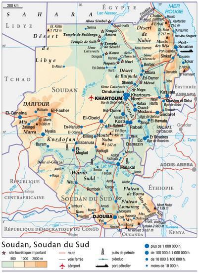 Carte géographique du Soudan