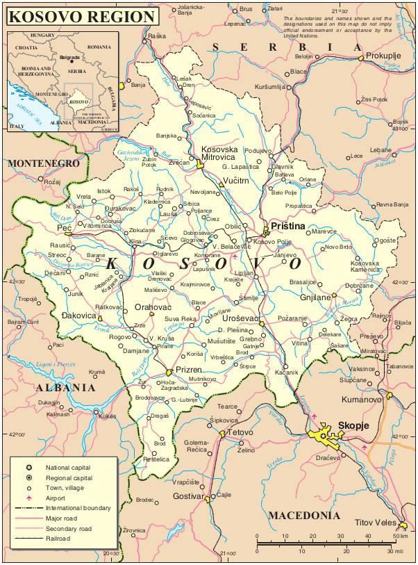 Carte du Kosovo