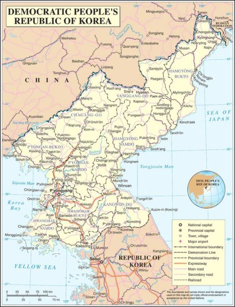 Carte politique de la Corée du Nord