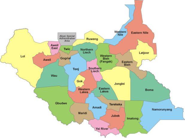 Carte des régions du Soudan du Sud