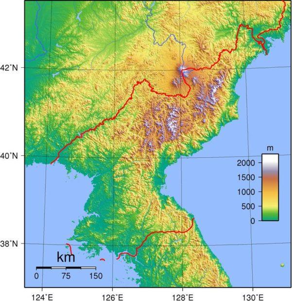 Carte du relief de la Corée du Nord