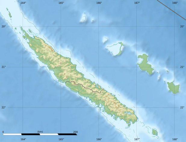 Carte du relief de la Nouvelle-Calédonie