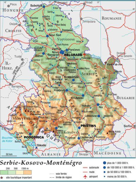 Carte du relief de la Serbie