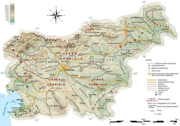 Carte du relief de la Slovénie