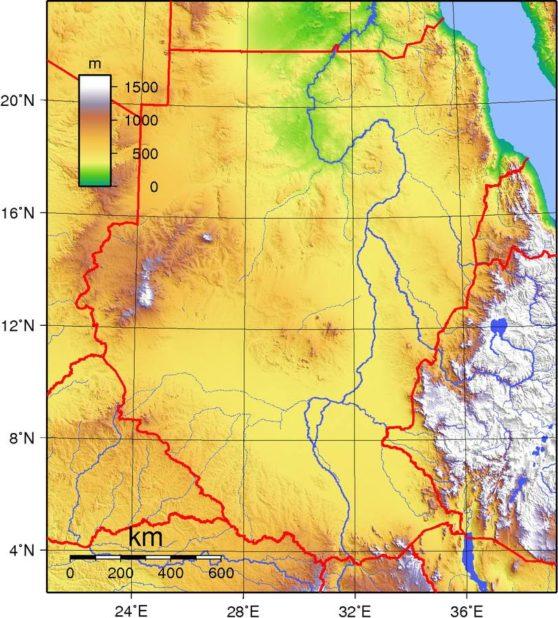 Carte du relief du Soudan