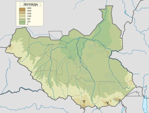 Carte des reliefs du Soudan du Sud