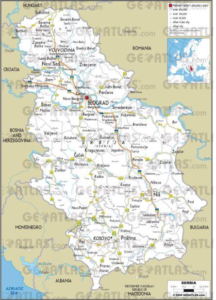 Carte routière de la Serbie