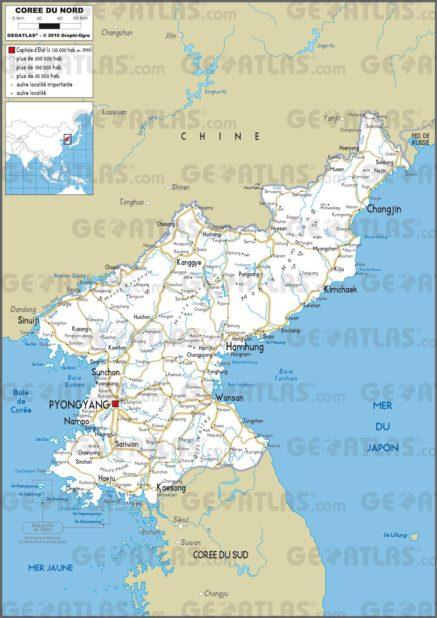 Carte routière de la Corée du Nord