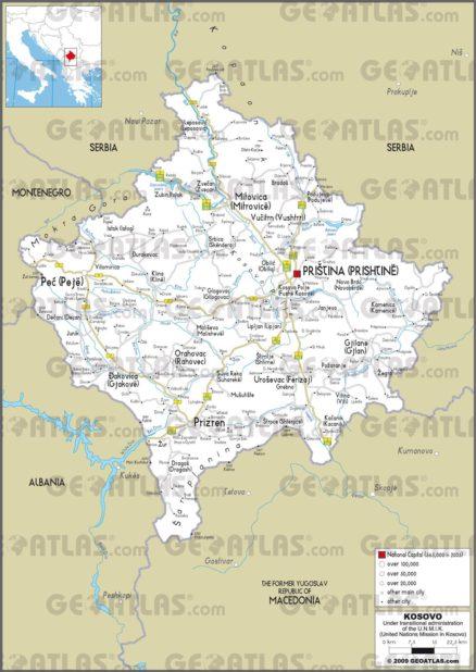 Carte routière du Kosovo
