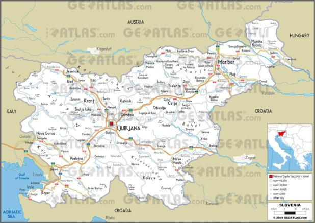 Carte routière de la Slovénie