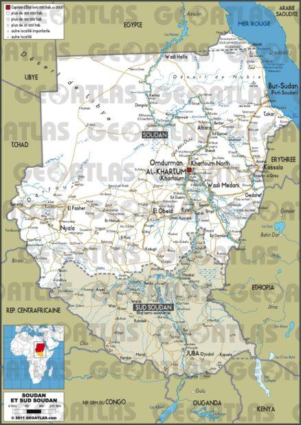 Carte routière du Soudan