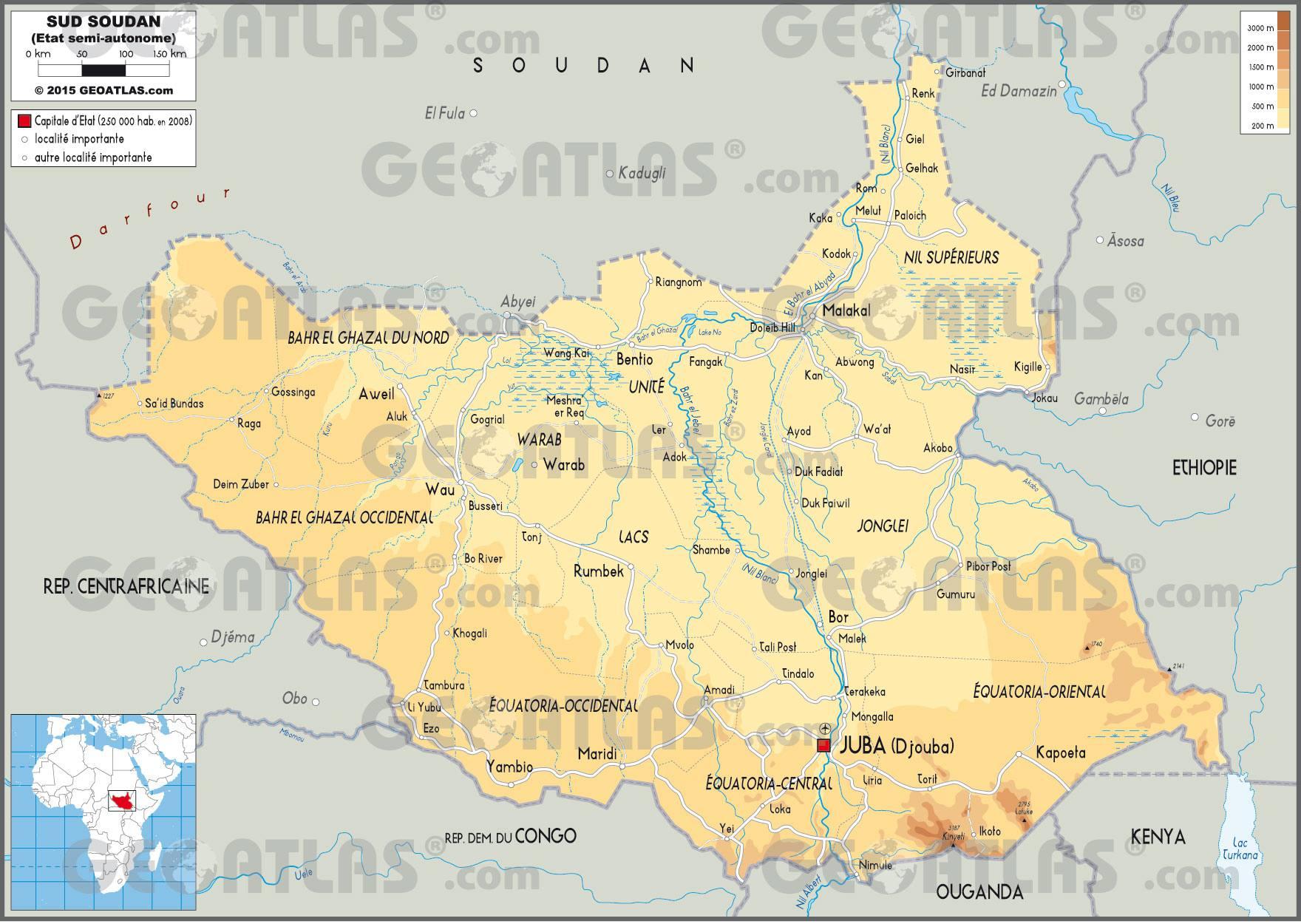 Carte Afrique Avec Soudan Du Sud.Carte Du Soudan Du Sud Plusieurs Cartes Du Pays En Afrique