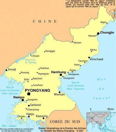 Carte des villes de la Corée du Nord