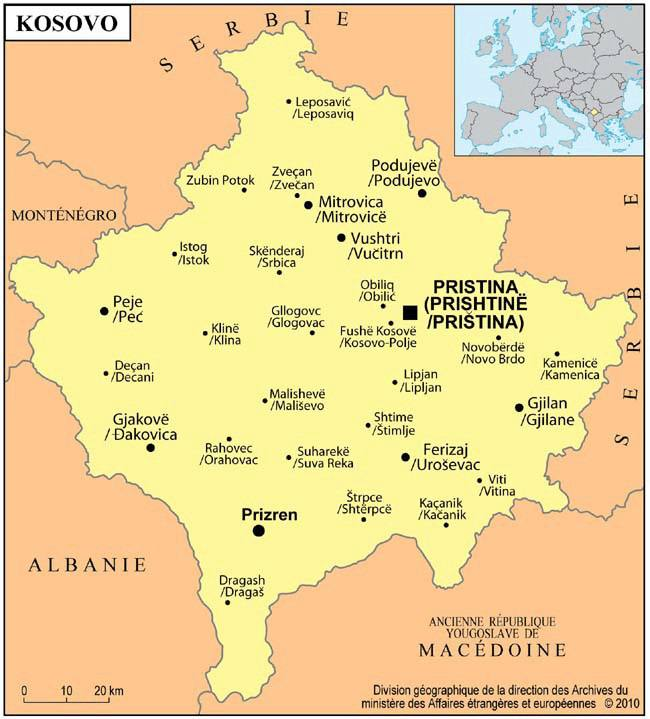 Carte des villes du Kosovo