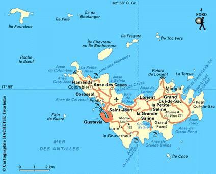 Carte villes de Saint-Barthélemy