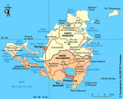 Carte des villes de Saint-Martin