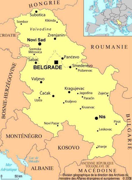 Carte des villes de la Serbie