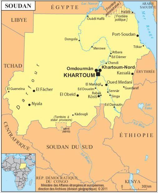 Carte des villes du Soudan