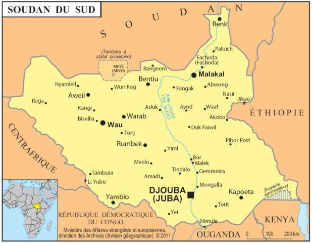 Carte des villes du Soudan du Sud