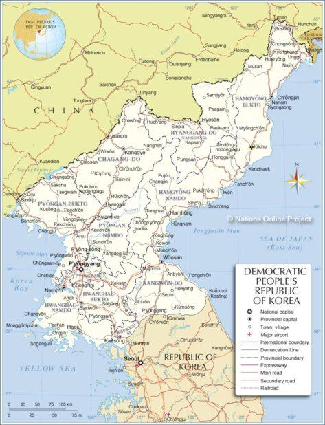 Corée du Nord sur une carte