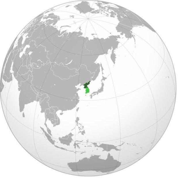 Corée du Nord sur une carte d'Asie