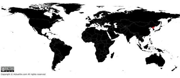 Corée du Nord sur une carte du monde