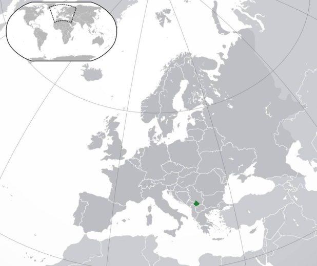 Kosovo sur une carte d'Europe