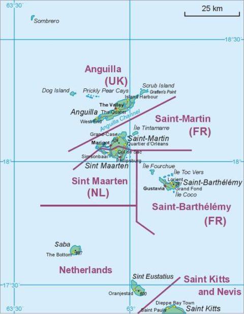 Saint-Martin carte des Caraïbes