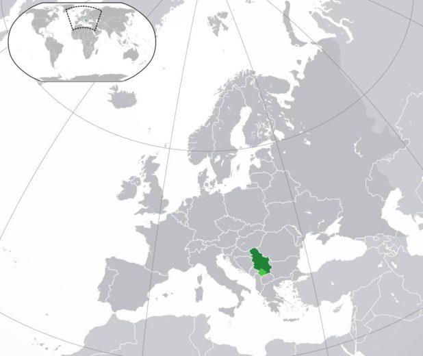 Serbie sur une carte de l'Europe
